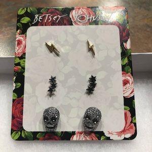 NWT•Betsey Johnson Skull earring trio